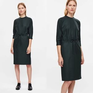 COS Wool Drawstring shirt dress in Forest Green